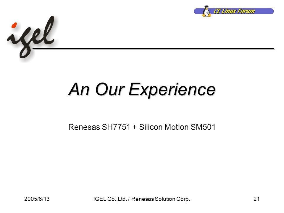 2005/6/1321IGEL Co.,Ltd. / Renesas Solution Corp.