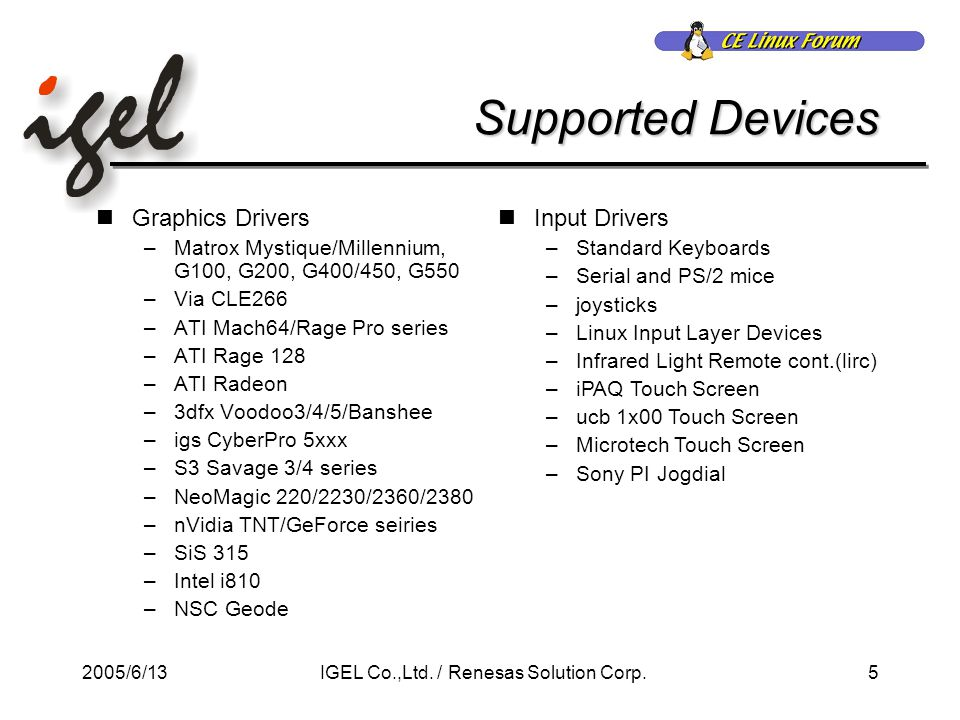 2005/6/135IGEL Co.,Ltd. / Renesas Solution Corp.