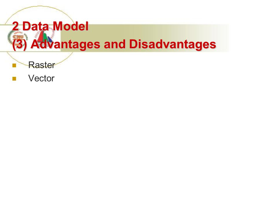 2 Data Model (3) Advantages and Disadvantages Raster Vector