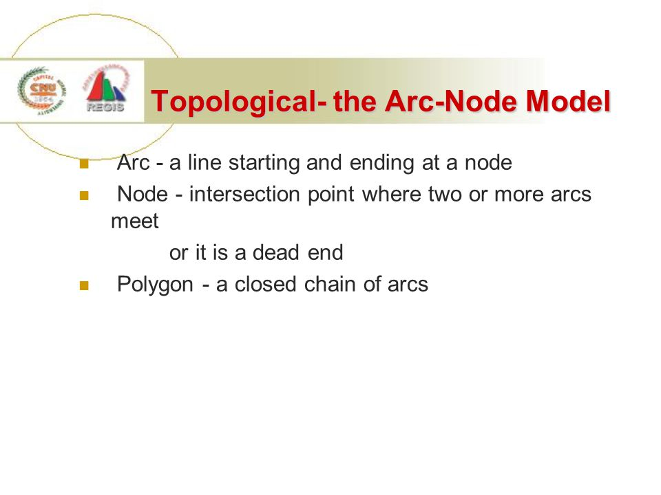 Topological- the Arc-Node Model Arc - a line starting and ending at a node Node - intersection point where two or more arcs meet or it is a dead end Polygon - a closed chain of arcs