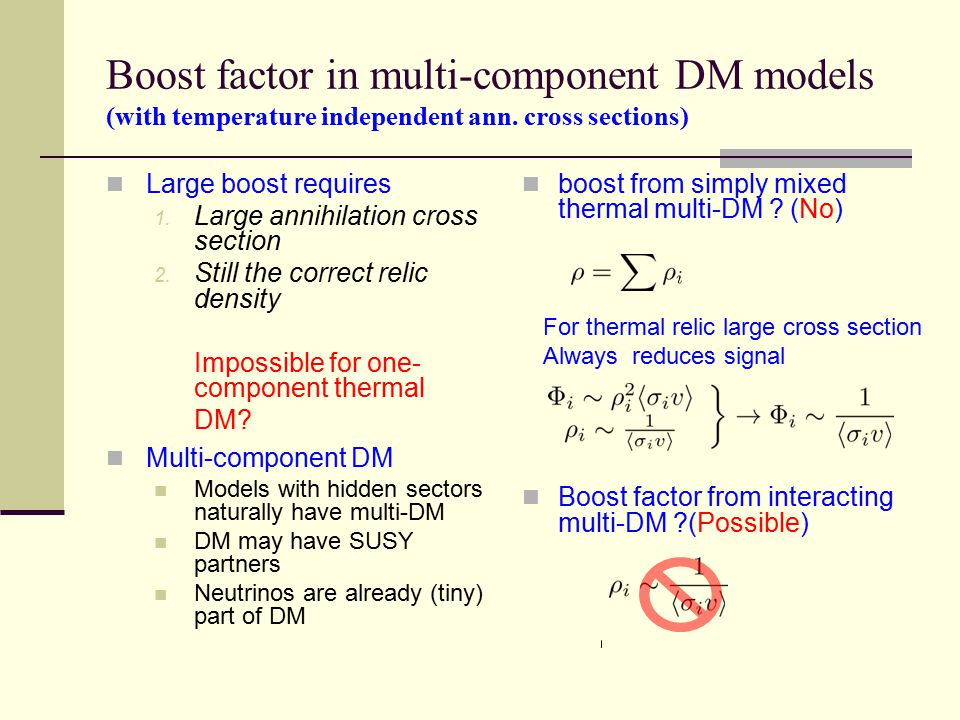 Boost factor in multi-component DM models (with temperature independent ann.
