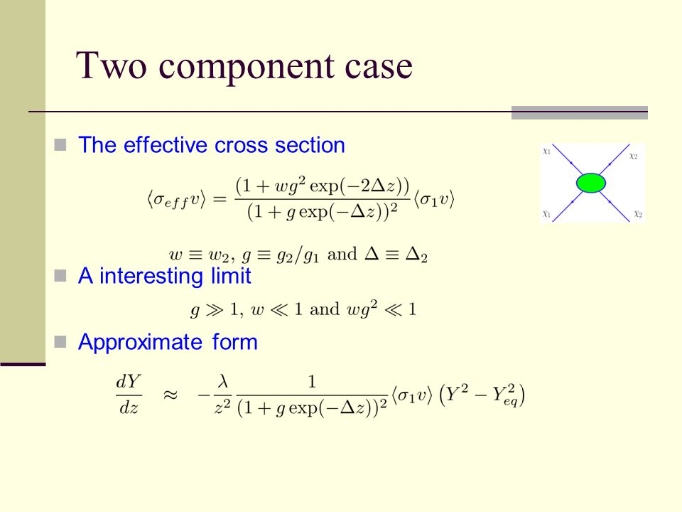 The effective cross section A interesting limit Approximate form Two component case