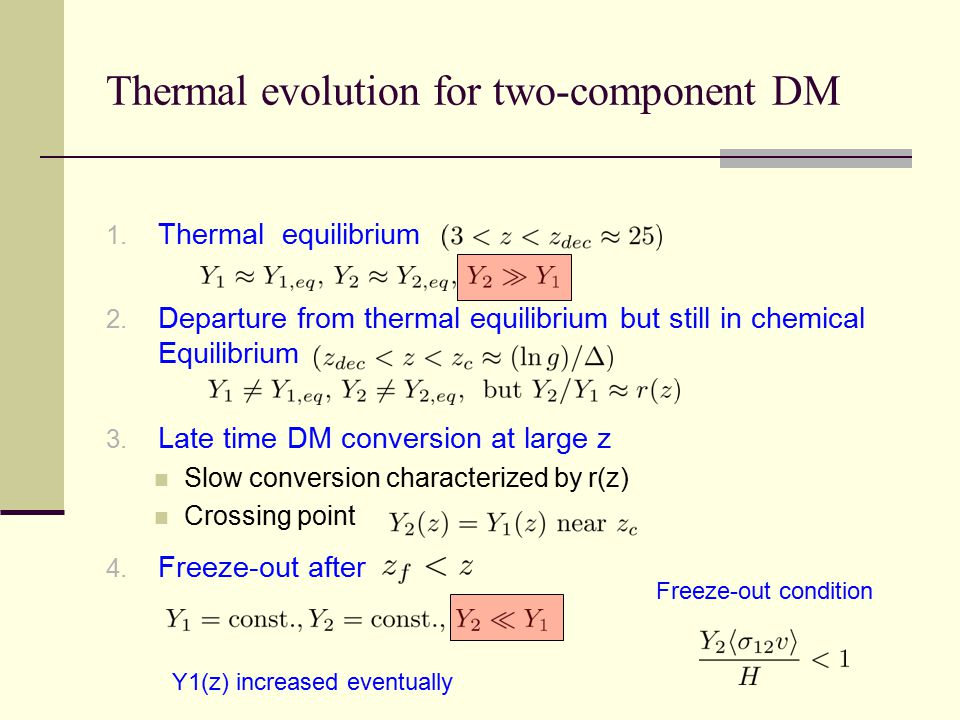 Thermal evolution for two-component DM 1. Thermal equilibrium 2. Departure from thermal equilibrium but still in chemical Equilibrium 3. Late time DM