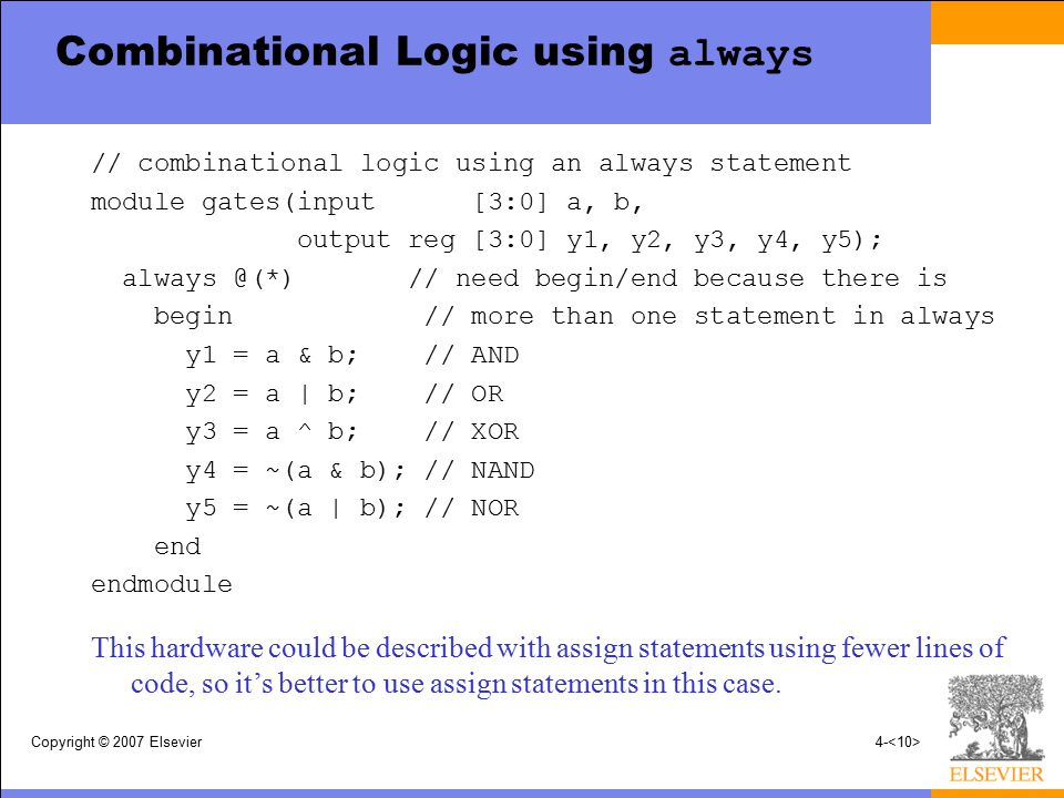 Copyright © 2007 Elsevier4- Combinational Logic using always // combinational logic using an always statement module gates(input [3:0] a, b, output re