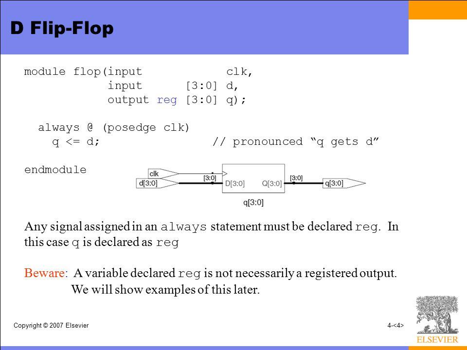 Copyright © 2007 Elsevier4- D Flip-Flop module flop(input clk, input [3:0] d, output reg [3:0] q); always @ (posedge clk) q <= d; // pronounced q gets d endmodule Any signal assigned in an always statement must be declared reg.