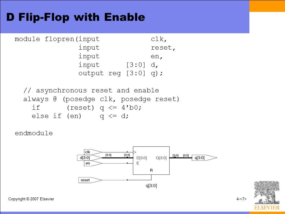 Copyright © 2007 Elsevier4- module flopren(input clk, input reset, input en, input [3:0] d, output reg [3:0] q); // asynchronous reset and enable always @ (posedge clk, posedge reset) if (reset) q <= 4 b0; else if (en) q <= d; endmodule D Flip-Flop with Enable