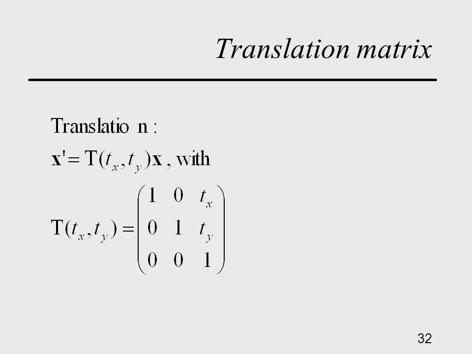32 Translation matrix