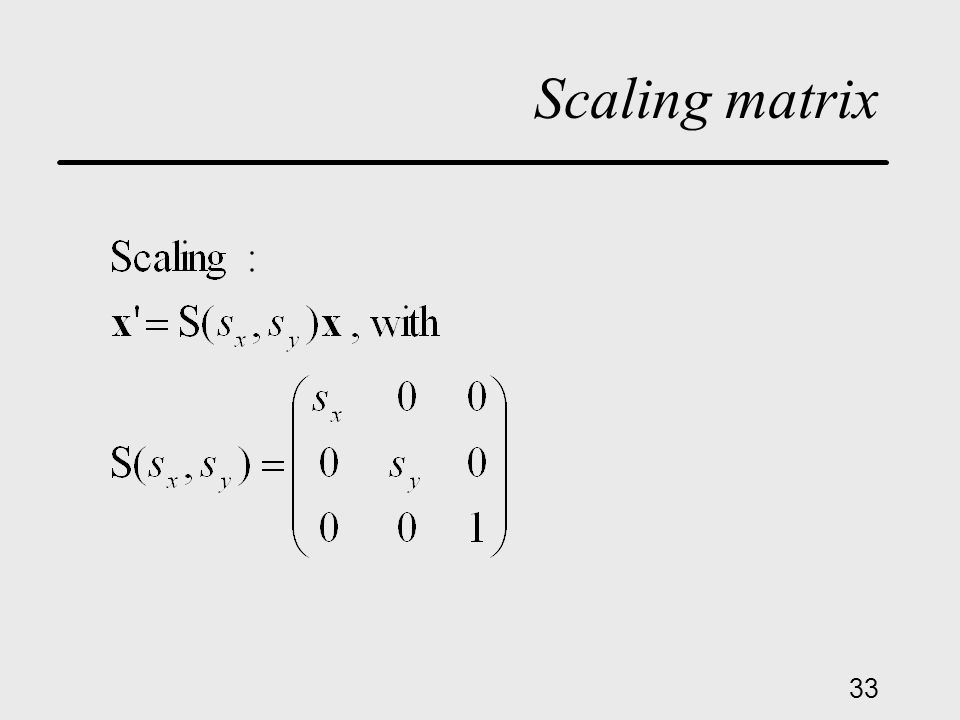 33 Scaling matrix