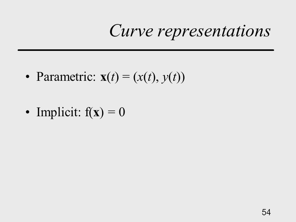 54 Curve representations Parametric: x(t) = (x(t), y(t)) Implicit: f(x) = 0