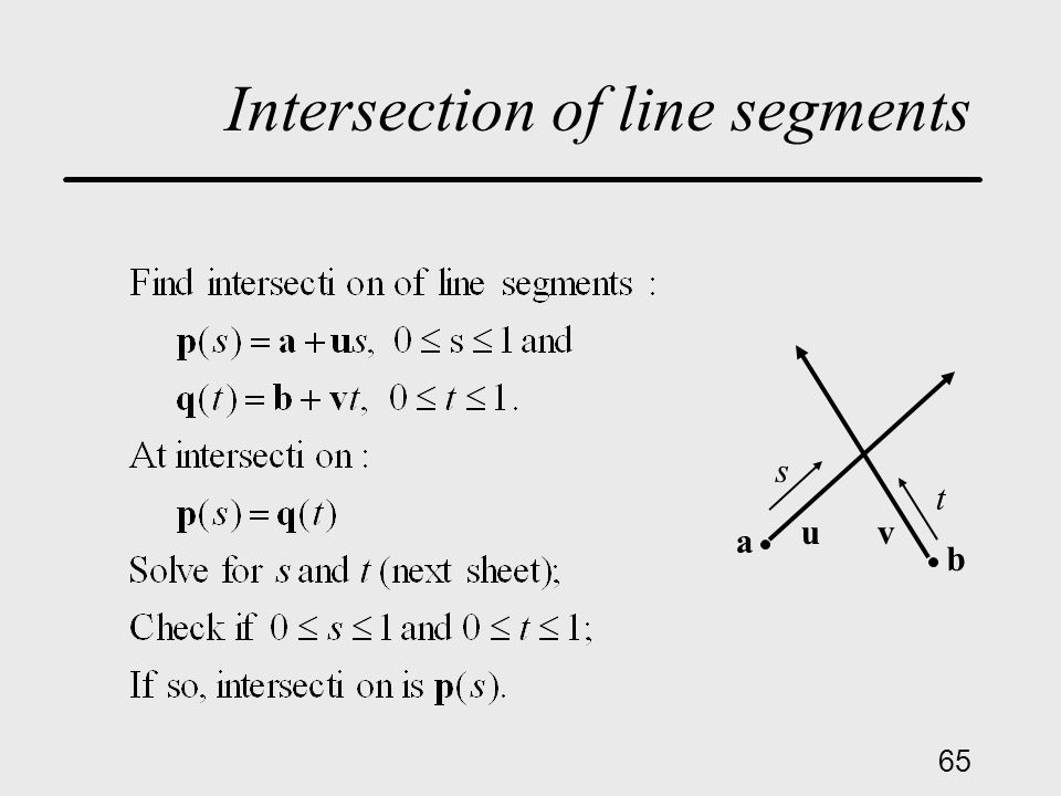 65 Intersection of line segments a u b v t s