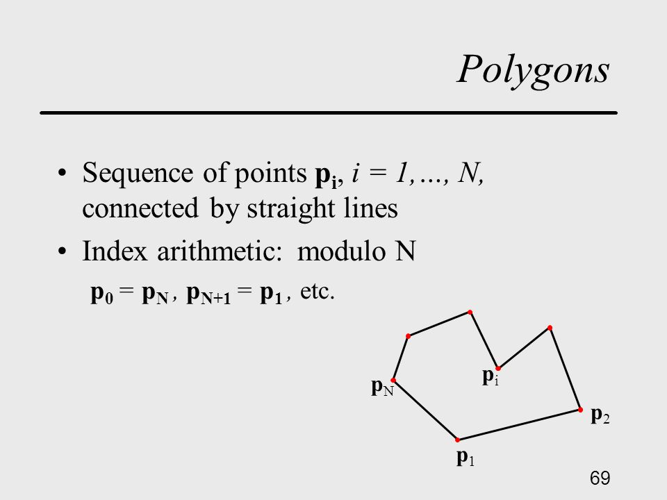 69 Polygons Sequence of points p i, i = 1,…, N, connected by straight lines Index arithmetic: modulo N p 0 = p N, p N+1 = p 1, etc.