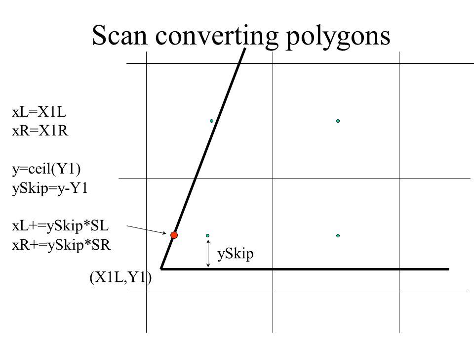 Scan converting polygons (X1L,Y1) xL=X1L xR=X1R y=ceil(Y1) ySkip=y-Y1 xL+=ySkip*SL xR+=ySkip*SR ySkip