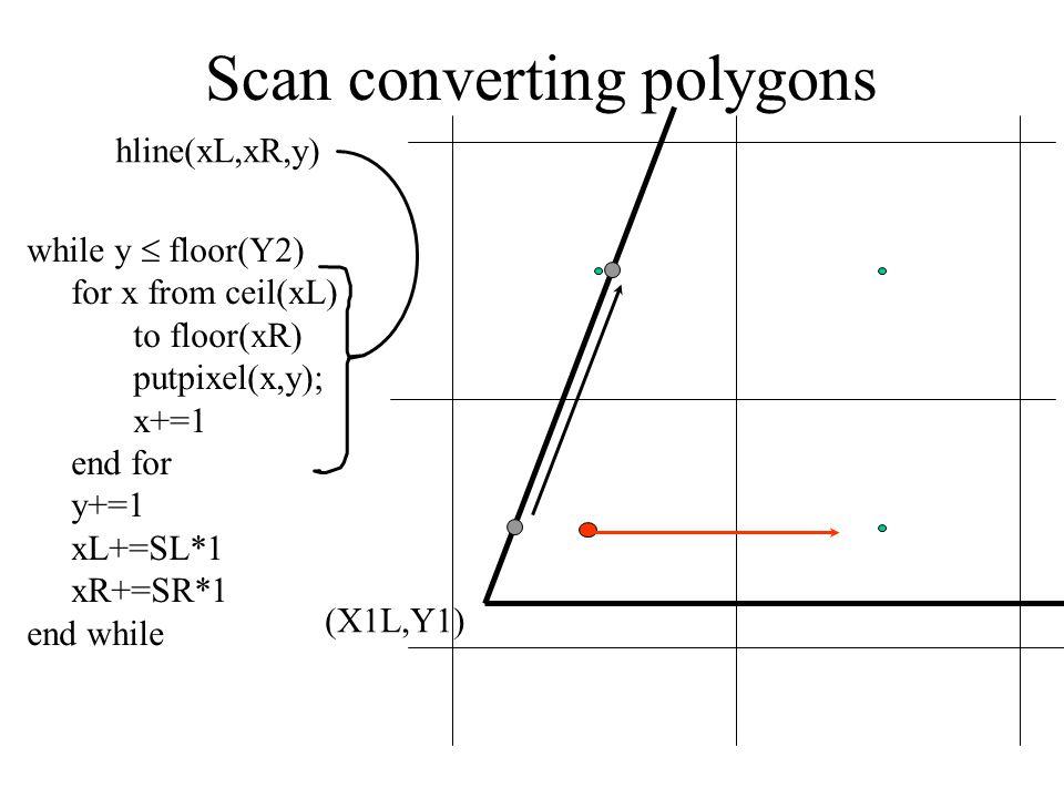 Scan converting polygons (X1L,Y1) while y  floor(Y2) for x from ceil(xL) to floor(xR) putpixel(x,y); x+=1 end for y+=1 xL+=SL*1 xR+=SR*1 end while hline(xL,xR,y)