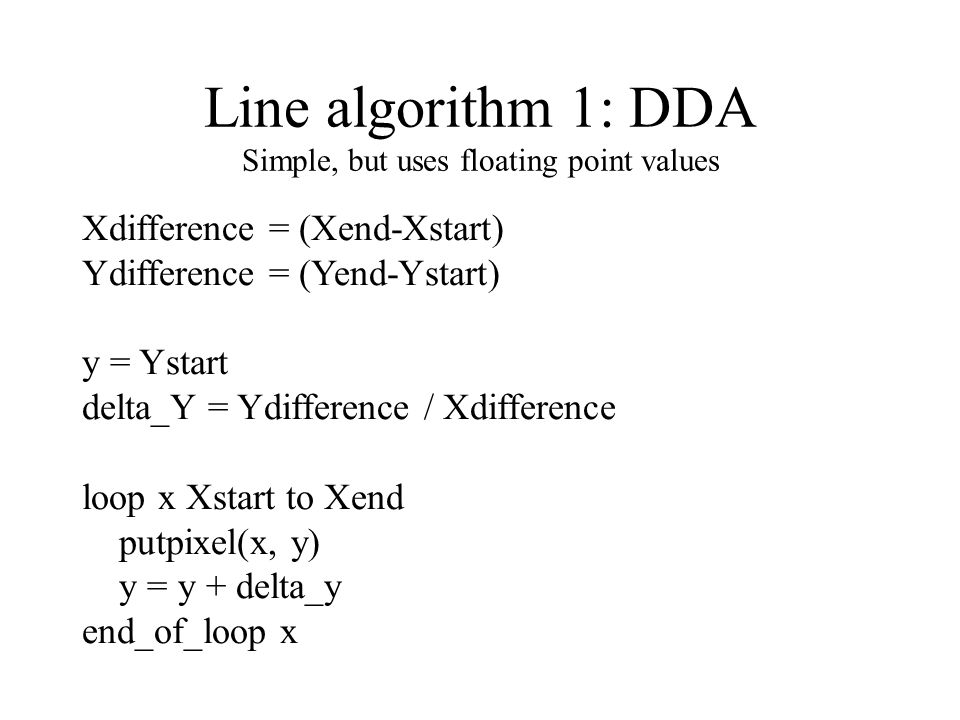 Line algorithm 2 Keep the fraction part of y in a separate variable, Yerror Start one half up.