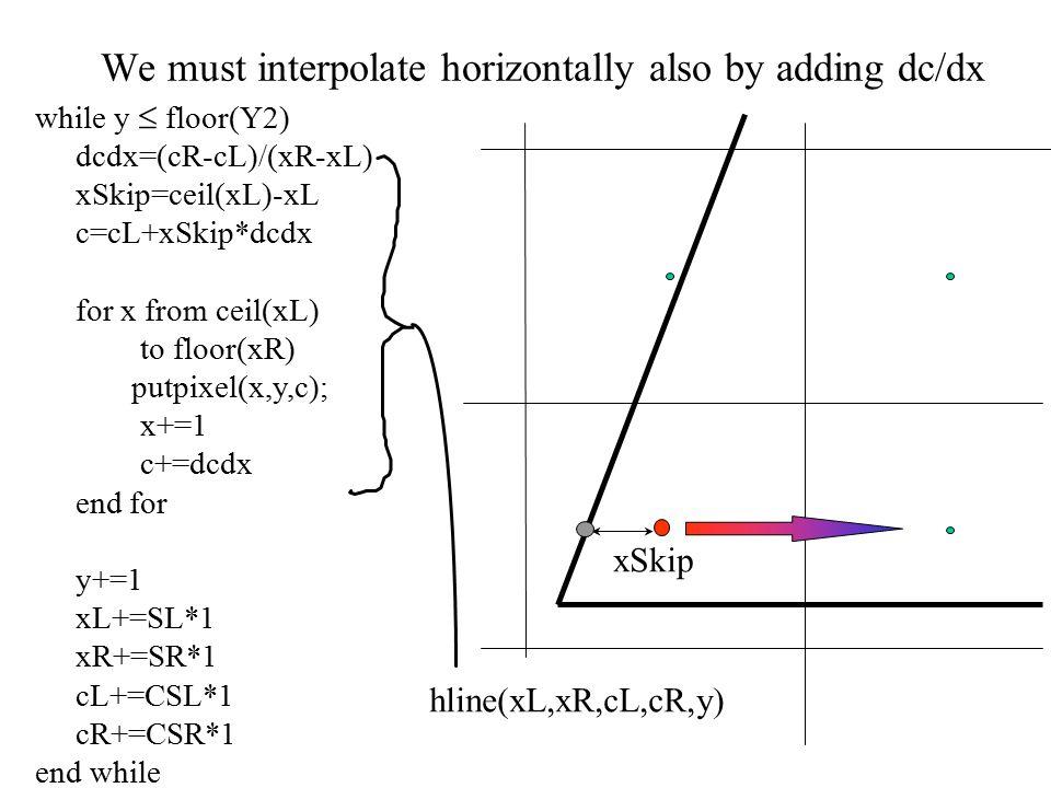 We must interpolate horizontally also by adding dc/dx while y  floor(Y2) dcdx=(cR-cL)/(xR-xL) xSkip=ceil(xL)-xL c=cL+xSkip*dcdx for x from ceil(xL) to floor(xR) putpixel(x,y,c); x+=1 c+=dcdx end for y+=1 xL+=SL*1 xR+=SR*1 cL+=CSL*1 cR+=CSR*1 end while xSkip hline(xL,xR,cL,cR,y)