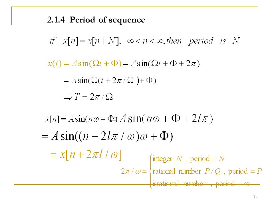 14 For convenience, sinusoidal signals are usually expressed by exponential sequences. The relationship between ω and Ω :