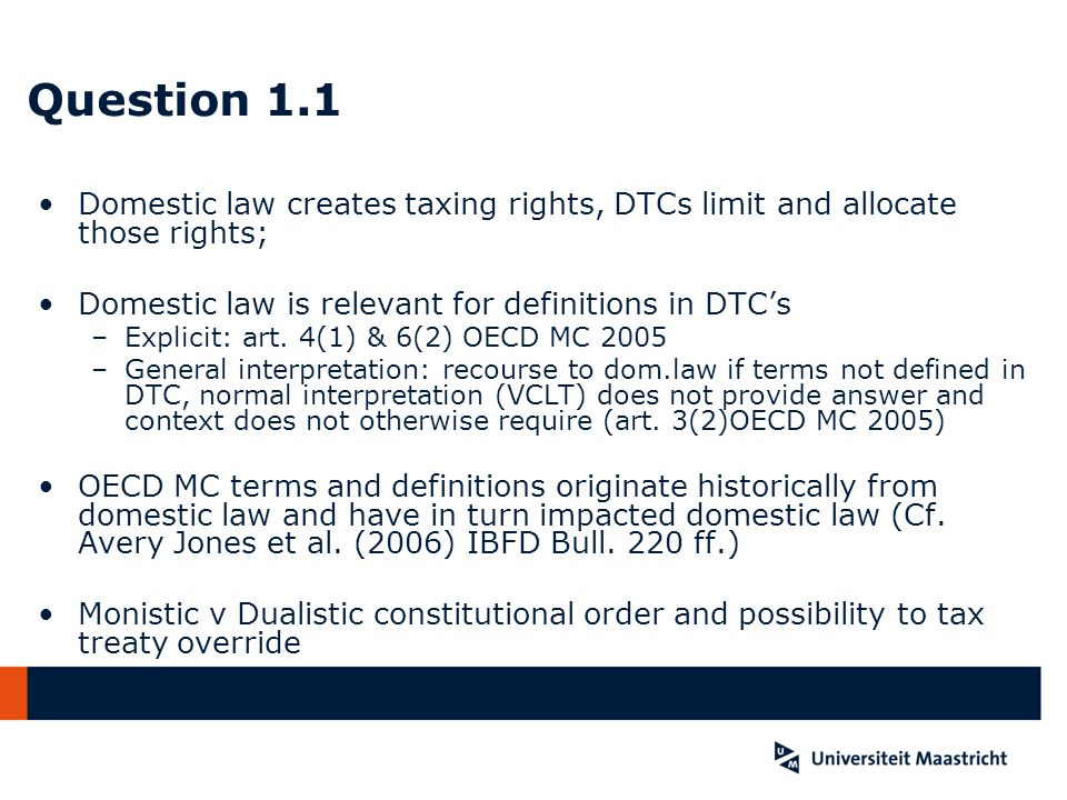 Question 4.2 In Belgium deductible because losses are effectively connected with the activities of the PE; as there is no income in Y1, losses can be carried forward In the NL deductible because exemption of PE income takes worldwide income into account –Tax base is 450.000,-- Euro