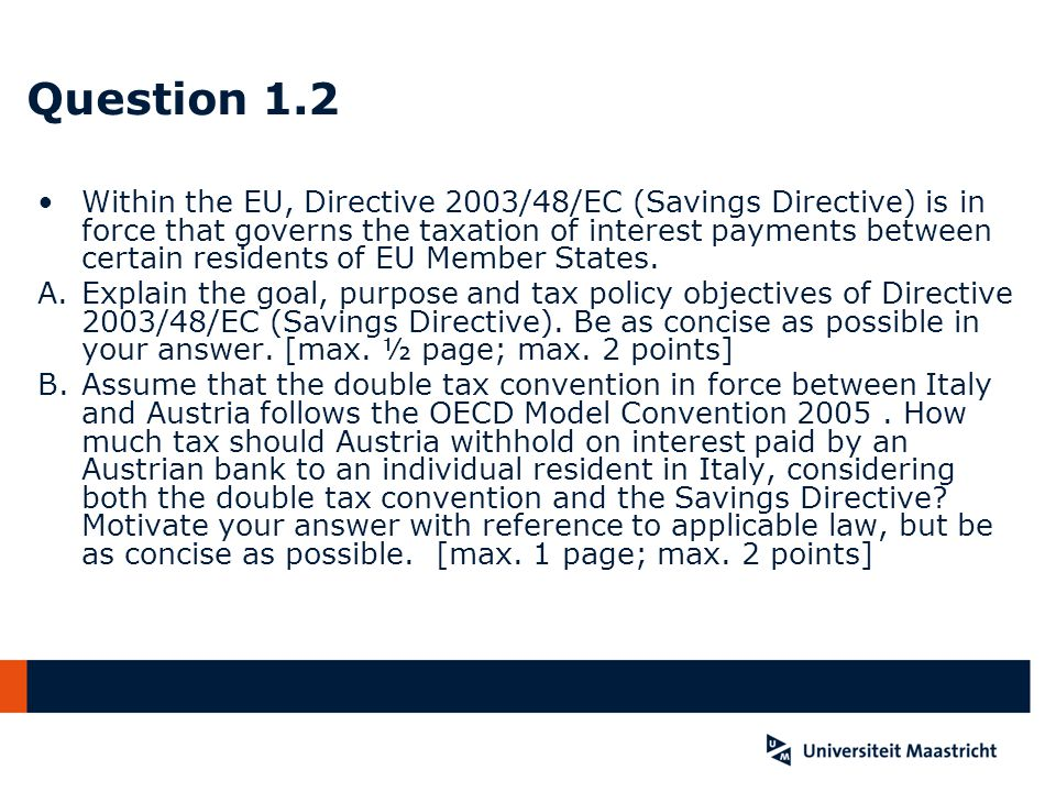 Question 1.2 A See preamble and art.
