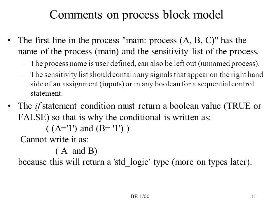 BR 1/0011 Comments on process block model The first line in the process
