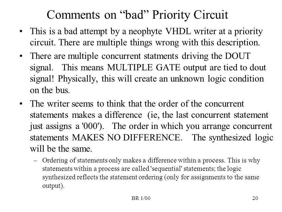 "BR 1/0020 Comments on ""bad"" Priority Circuit This is a bad attempt by a neophyte VHDL writer at a priority circuit. There are multiple things wrong wi"