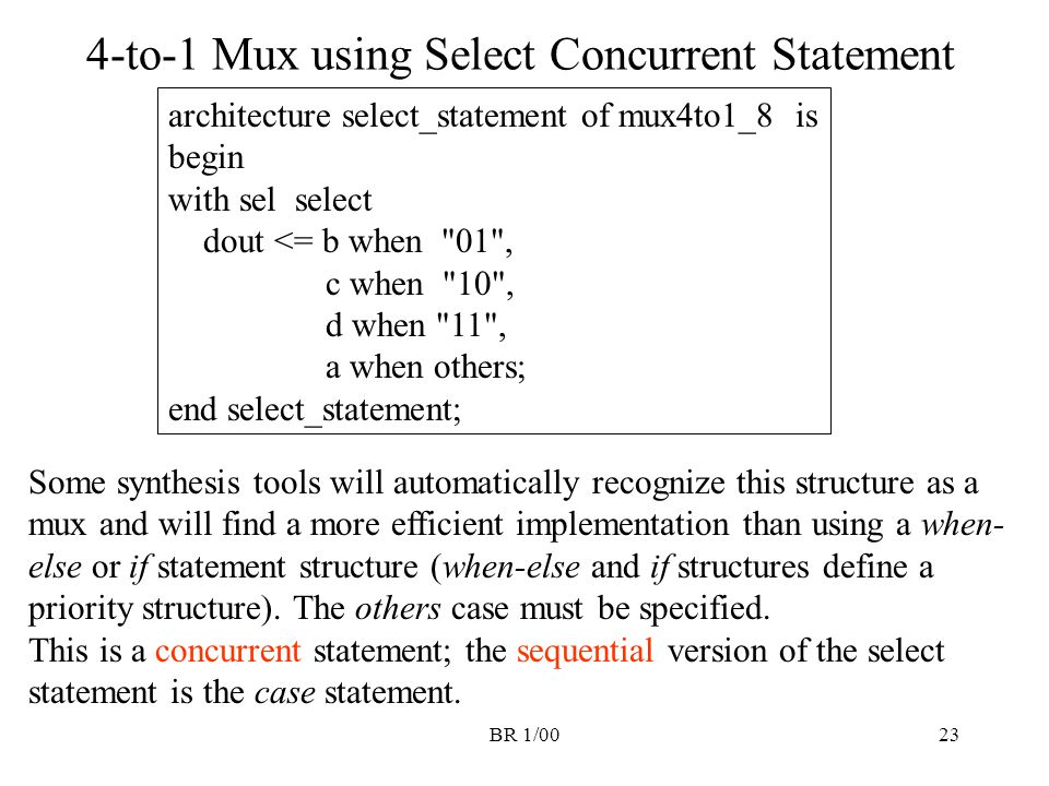 BR 1/0023 4-to-1 Mux using Select Concurrent Statement architecture select_statement of mux4to1_8 is begin with sel select dout <= b when