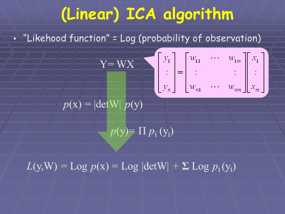 "(Linear) ICA algorithm ""Likehood function"" = Log (probability of observation) Y= WX p(x) = 