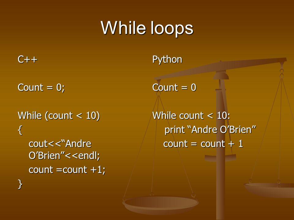 If statement (If-Then-Else form) C++ Num1 = 10; Num2 = 32; Num3 = 14; If (num1 > num2) { cout<< 10 is greater than 32<< endl; } Else if (num2 < num3) { cout<< 32 is less than 14 <<endl; } Else if (num3 > num2) { cout<< 14 is greater than 32 <<endl; }Else cout<< please review your first grade math material <<endl Python Num1 = 10 Num2 = 32 Num3 = 14 If num1 > num2: print 10 is greater than 32 Elif num2 < num3: print 32 is less than 14 Elif num3 >num2: print 14 is greater than 32 Else print please review your first grade math material