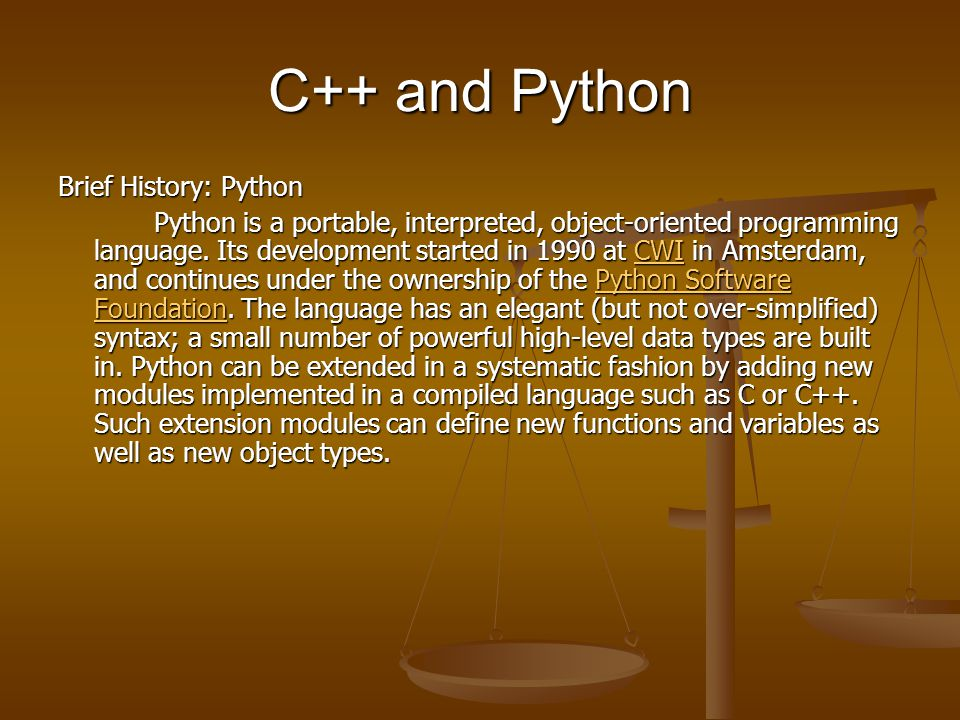 C++ and Python Brief History: C++ In 1985 Bjarne Stroustrup, also of Bell Labs, invented the C++ programming language.