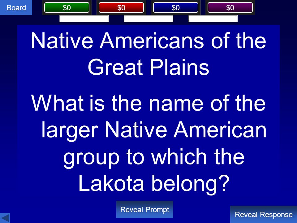 Board $0 Native Americans of the Great Plains Reveal Response Reveal Prompt What is the name of the larger Native American group to which the Lakota b