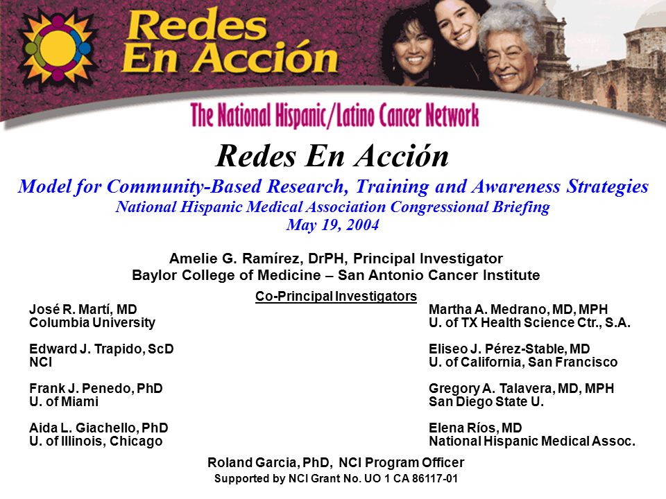 Redes En Acción Model for Community-Based Research, Training and Awareness Strategies National Hispanic Medical Association Congressional Briefing May 19, 2004 Amelie G.