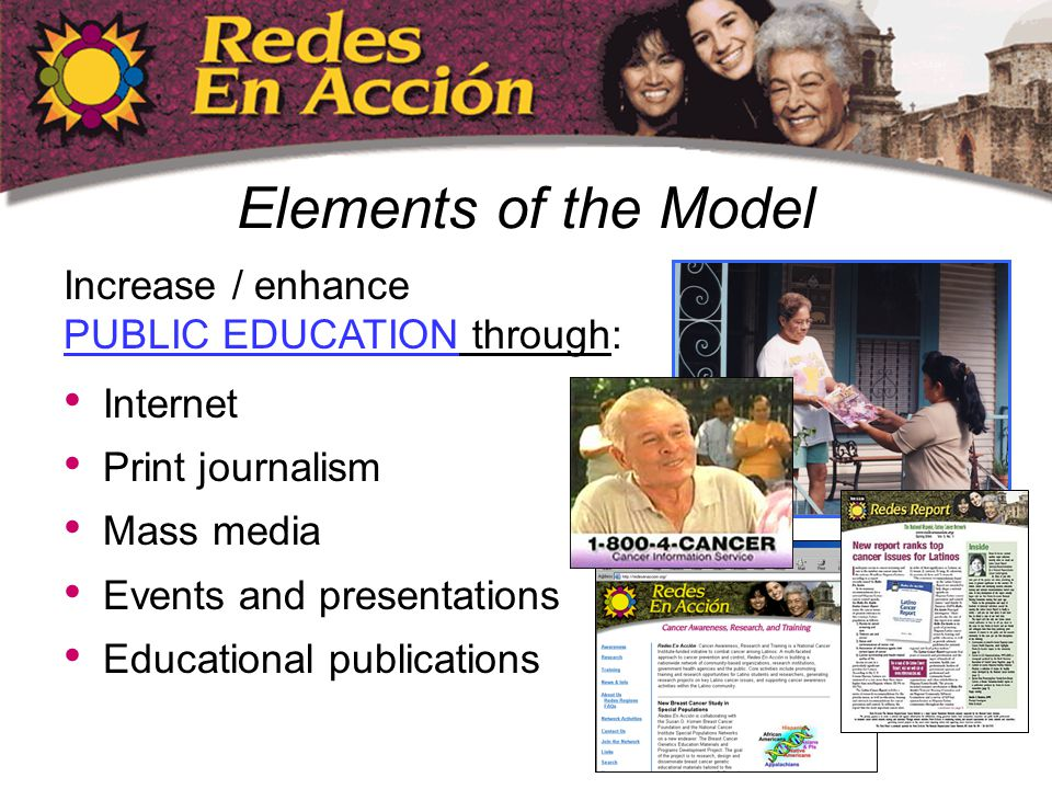 Internet Print journalism Mass media Events and presentations Educational publications Elements of the Model Increase / enhance PUBLIC EDUCATION through: