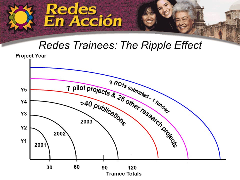 Redes Trainees: The Ripple Effect 30 60 90120 2001 2002 2003 Y1 Y2 Y3 Y4 Y5 Trainee Totals Project Year