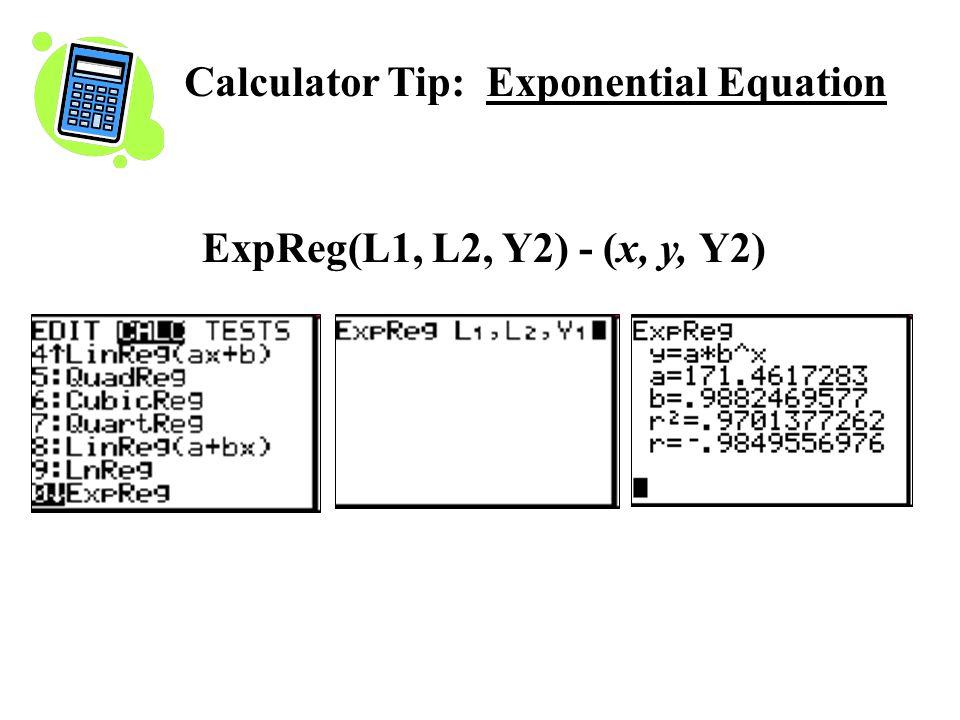 ExpReg(L1, L2, Y2) - (x, y, Y2) Calculator Tip: Exponential Equation