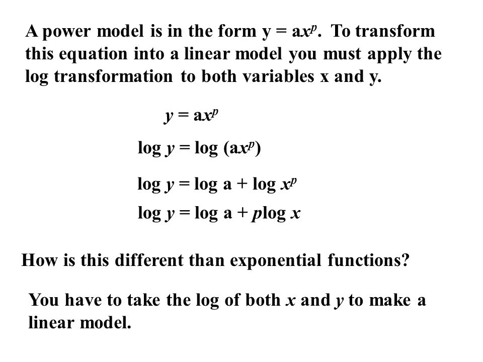 A power model is in the form y = ax p.