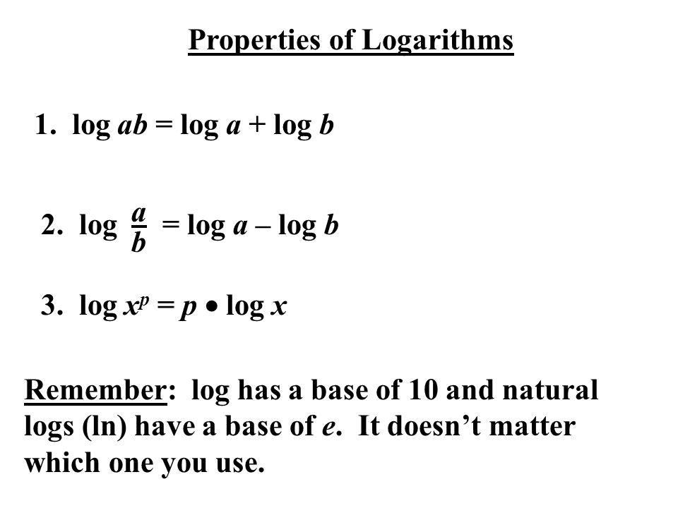 Properties of Logarithms 1. log ab = log a + log b 2. log = log a – log b abab 3. log x p = p  log x Remember: log has a base of 10 and natural logs