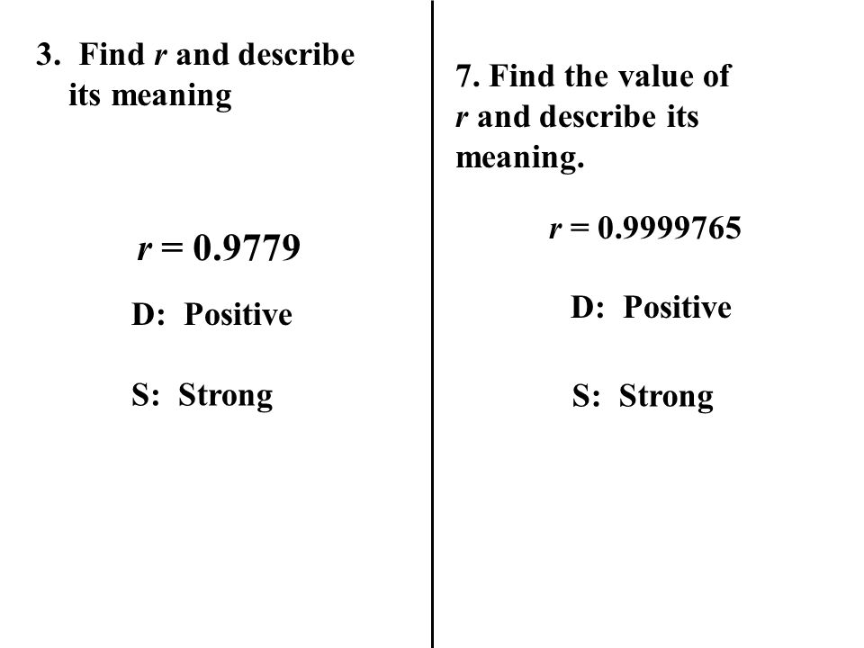 7.Find the value of r and describe its meaning. r = 0.9999765 D: Positive S: Strong 3.