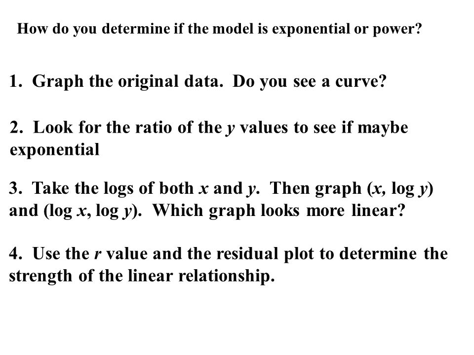 How do you determine if the model is exponential or power.