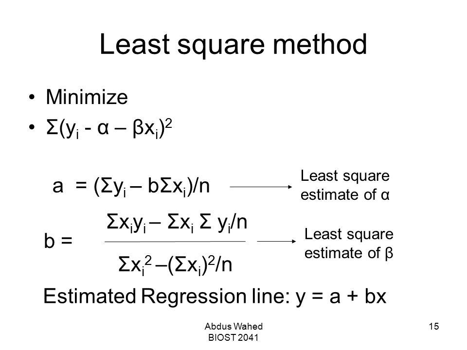 Abdus Wahed BIOST 2041 15 Least square method Minimize Σ(y i - α – βx i ) 2 b = Σx i y i – Σx i Σ y i /n Σx i 2 –(Σx i ) 2 /n a = (Σy i – bΣx i )/n Least square estimate of α Least square estimate of β Estimated Regression line: y = a + bx