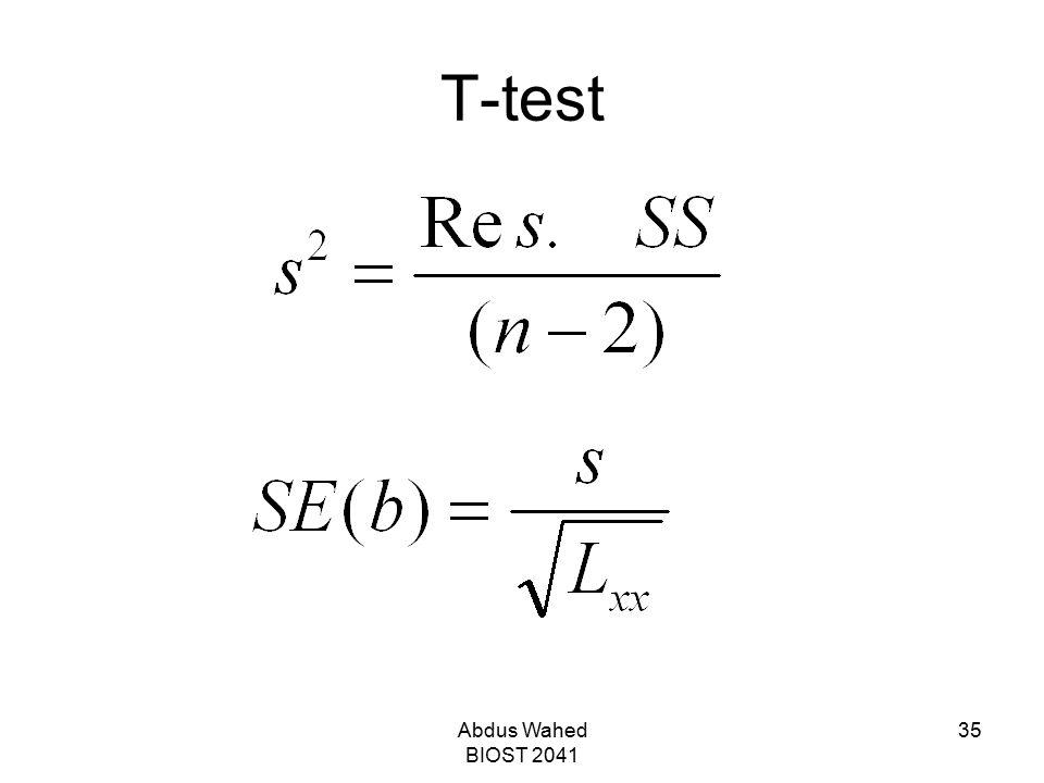 Abdus Wahed BIOST 2041 35 T-test