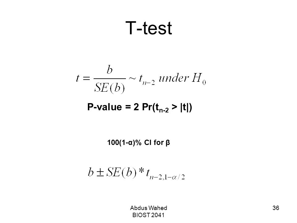 Abdus Wahed BIOST 2041 36 T-test P-value = 2 Pr(t n-2 > |t|) 100(1-α)% CI for β