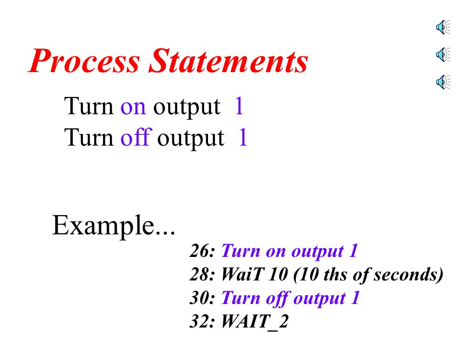 Turn on output 1 Turn off output 1 Process Statements These statements are used to manipulate the CNC by controlling the output.