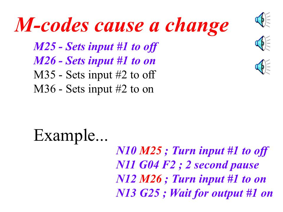 M25 - Sets input #1 to off M26 - Sets input #1 to on M35 - Sets input #2 to off M36 - Sets input #2 to on M-codes cause a change These M-codes are used to turn the Robot Arm on and off.