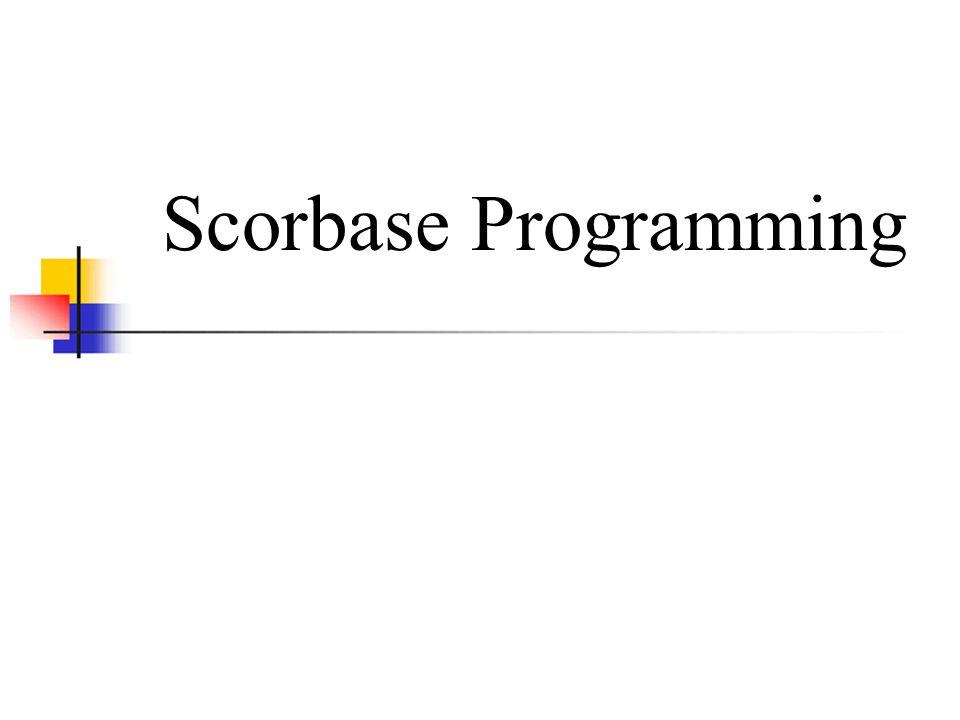 Scorbase Programming