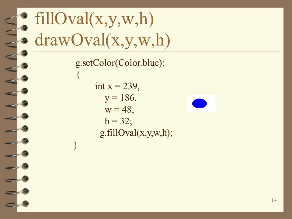 14 fillOval(x,y,w,h) drawOval(x,y,w,h) g.setColor(Color.blue); { int x = 239, y = 186, w = 48, h = 32; g.fillOval(x,y,w,h); }