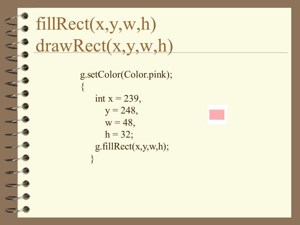 fillRect(x,y,w,h) drawRect(x,y,w,h) g.setColor(Color.pink); { int x = 239, y = 248, w = 48, h = 32; g.fillRect(x,y,w,h); }