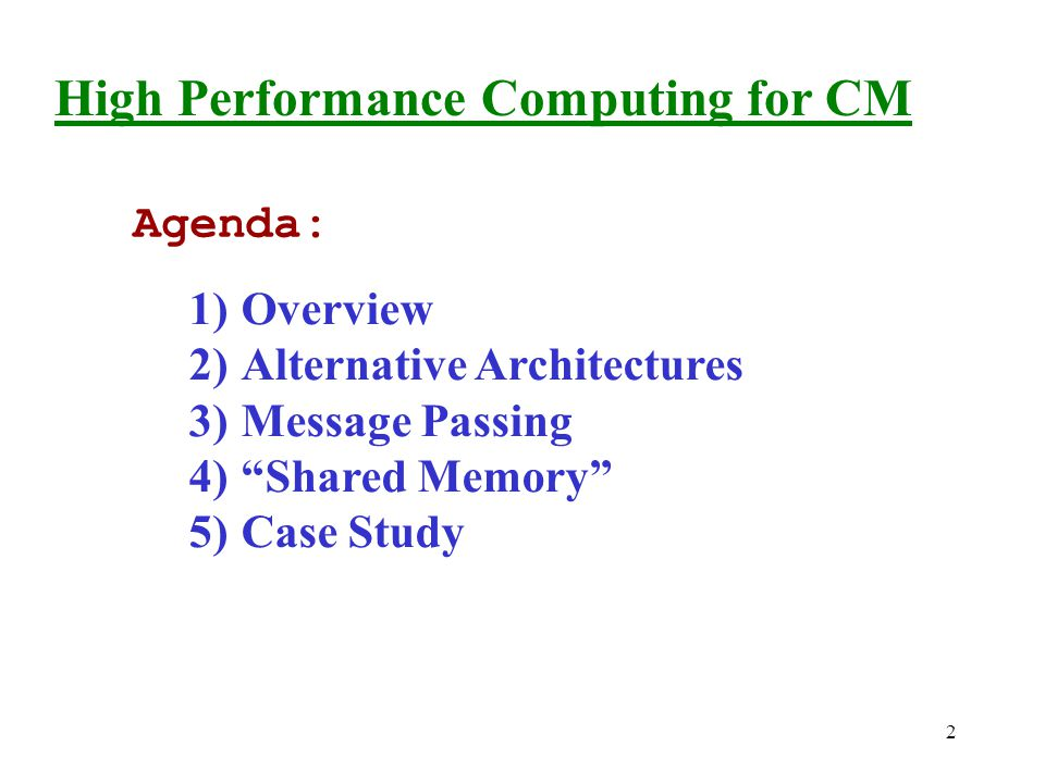 3 1)High Performance Computing - Overview