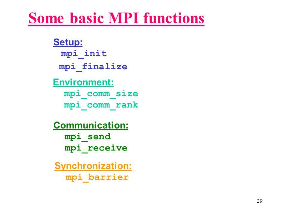 29 Some basic MPI functions Setup: mpi_init mpi_finalize Environment: mpi_comm_size mpi_comm_rank Communication: mpi_send mpi_receive Synchronization: mpi_barrier