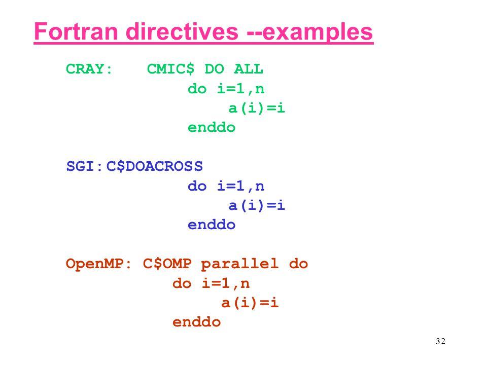 32 CRAY: CMIC$ DO ALL do i=1,n a(i)=i enddo SGI:C$DOACROSS do i=1,n a(i)=i enddo OpenMP: C$OMP parallel do do i=1,n a(i)=i enddo Fortran directives --examples