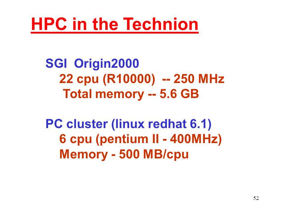 52 HPC in the Technion SGI Origin2000 22 cpu (R10000) -- 250 MHz Total memory -- 5.6 GB PC cluster (linux redhat 6.1) 6 cpu (pentium II - 400MHz) Memory - 500 MB/cpu