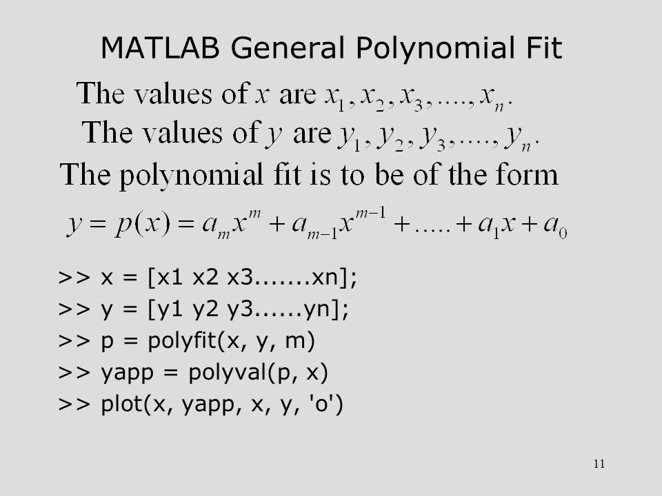 11 MATLAB General Polynomial Fit >> x = [x1 x2 x3.......xn]; >> y = [y1 y2 y3......yn]; >> p = polyfit(x, y, m) >> yapp = polyval(p, x) >> plot(x, yapp, x, y, o )
